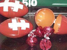 Football favors from plastic Easter eggs