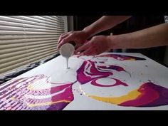 Acrylic Fluid Pouring,This Is My Largest Canvas To Date.... - YouTube