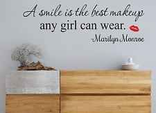 MARILYN MONROE SMILE QUOTE WALL ART VINYL STICKER BEDROOM  HOME DIY HOME