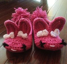 Adult/Youth pink crochet bunny slippers by CloudNineCrochet, $25.00