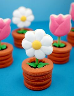 Stacked sugar cookies form pot, and sugar cookie flowers bloom on sticks