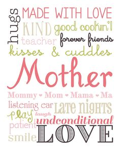 Mom Subway Art Printable + 25 Free Mother's Day Printables – Beautiful and easy gift ideas to honor the women who make the world go round! Mothers Day Quotes, Mothers Day Crafts, Mom Quotes, Qoutes, Mother's Day Printables, Scrapbook Titles, Scrapbooking, Happy Mother S Day, Subway Art