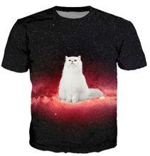 Fat White Cat Nebula Galaxy 3D Print T-Shirt Women Men Sport tops Space Fashion Clothing Kitten Animal Funny tees t shirt(China (Mainland))