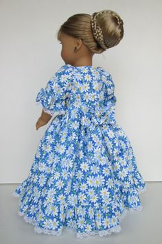 """American girl doll clothes """"SCARLETT-Daisy Blue"""" Full length dress in Floral cotton print fabric with crinoline petticoat"""