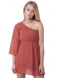 Womens Fashion One Shoulder Mini Dress   #londonfashion #wholesaler #women #minidress #oneshoulderdress #brown #fashion