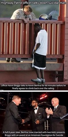 Its amazing how he came back from such a sad time and he his probably helping others from suicide