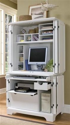 Compact Computer Cabinet With Hutch