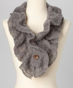 Take a look at this Jayli Gray Button Wool Scarf on zulily today!