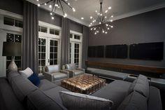 Modern black family room