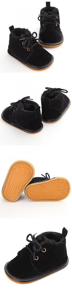 Baby Boys Eskimo Cotton Sole Winter Warm Rubber Bottom Low Top Sneaker Crib Shoes Black 12-18 Months