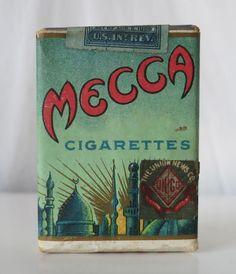 MECCA CIGARETTES VINTAGE WWI ERA 1917 TOBACCO PACK, THE UNION NEWS CO. NEW YORK #MECCA