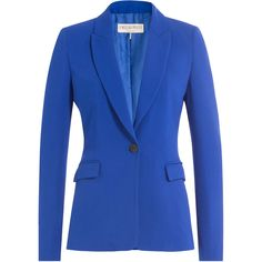 EMILIO PUCCI Crepe Blazer ($2,059) ❤ liked on Polyvore featuring outerwear, jackets, blazers, slim fit jacket, blazer jacket, royal blue blazers, tailored blazer and shrug cardigan