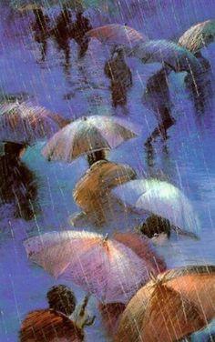 Blue umbrellas...