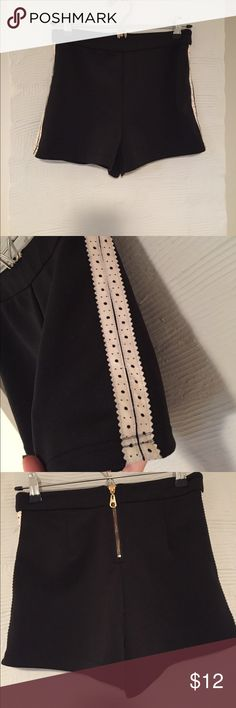 Forever 21 black high waisted shorts with zipper Exposed gold zipped with faux with leather trim panels Forever 21 Shorts