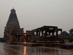 Tanjore Big Temple on a rainy day Inclined Plane, Asia, Louvre, Architecture, World, City, Building, Places, Nature