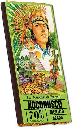 Tableta de chocolate Xoconusco. A este chocolate le hemos querido denominar con el nombre del cacao con el que se elabora: Xoxonusco. Porque fue la primera denominación de origen que hubo en la historia del chocolate. Antes de que los españoles llegarán a Nueva España (México) ya servía de sustento y placer al emperador Moctezuma. Los españoles hicieron plantaciones con él buscando ya un beneficio comercial con lo que aumentaban los ingresos para la Corona, a la vez que era el seleccionado…