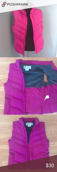 """NWOT WOMEN'S PINK COLUMBIA LINED DOWN VEST Received as a gift and have never worn. Magenta pink COLUMBIA PUFFY Vest. Women's large. APPROX 26"""" LONG. Polyester shell. Fleece like ( Rayon and  Polyester) inside lined. DOWN AND FEATHERS  FOR INSULATION. CONDITION is NEW WITHOUT TAGS Columbia Jackets & Coats Vests"""