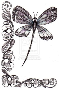 Items similar to Dragonfly and shell. Beautiful and original whimsical abstract psychedelic stylised Ink drawing illustration dragonfly flower shell on Etsy Dragonfly Art, Dragonfly Tattoo, Dragonfly Drawing, Dragonfly Illustration, Zentangle Patterns, Zentangles, Tattoo Patterns, Colouring Pages, Adult Coloring Pages