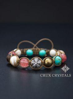 Shamballa Bracelet Goddess Flower, Swarovski Elements, Natural Stone, Colorful Women Bracelet - Swarovski Pearls, Turquoise, Hematite, Agate on Etsy, $28.00