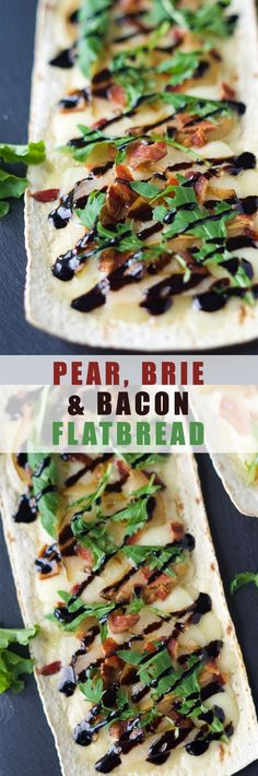 Pear, Brie and Bacon Flatbread: Pear, Brie and Bacon Flatbread are a simple dinner filled with sweet, salty and savory flavors that can be on your table in 15 minutes! Tapas, Appetizer Recipes, Dinner Recipes, Appetizers, Pear Recipes, Healthy Recipes, Healthy Food, Hacks Cocina, Pot Pasta