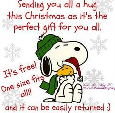 Google Image Result for https://lh5.googleusercontent.com/-yvhwCcGdL-0/UNkTmYQOD6I/AAAAAAAB7QQ/lKMlNdGiH74/w497-h373/christnas-snoopy-hug.jpg Sending Hugs, Charlie Brown And Snoopy, Snoopy Love, Christmas Pictures, Peanuts Christmas, Merry Christmas Greetings, Christmas Jokes, Christmas Holidays, Christmas Stuff