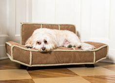 This furniture quality pet lounger is perfect if your dog is a snuggler or a leaner. 100% Microfiber. Fits dogs up to 30 lbs. Furniture legs come with felt gliders to protect your floor. Please visit our PTPA Boutique at our website to learn more about our unique pet furniture: ModernPuppies.com