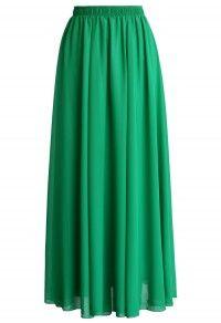 Emerald Green Chiffon Maxi Skirt Moda Faldas e222e14adc1