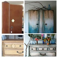 The Turquoise Iris ~ Vintage Modern Hand Painted Furniture: When in Doubt, Add Teal!!! White & Gray Dresser Makeover Heirloom Traditions Paints