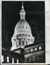 1961 Press Photo Capitol Building at Night, Lansing Michigan