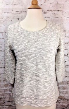 Lou & Grey by LOFT Metallic Sweater Sz Small Ivory Gold Cotton Blend 3/4 Sleeves #AnnTaylorLOFT #ScoopNeck #Casual