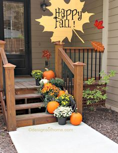 how to decorate your front steps for fall for under curb appeal, diy, how to, seasonal holiday decor, thanksgiving decorations Thanksgiving Decorations, Seasonal Decor, Christmas Decor, Porch Step Railing, Outside Steps, Front Stairs, Porch Stairs, Porch Decorating, Decorating Ideas