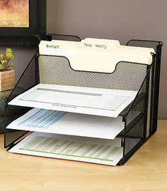 5-Compartment Desktop File Organizers. Perfect for any office or even helpful for organizing in the kitchen.