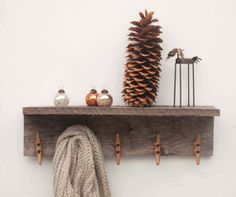 Reclaimed Wood Boat Cleat Coat Rack Shelf by geaugaroots on Etsy, $62.00 // Cabin