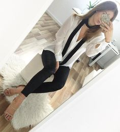 #winter #fashion /  White Silk Shirt + Black Leggings + Black Scarf