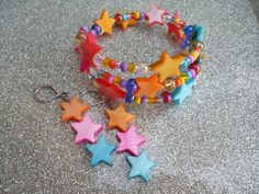 Summer Stars Earring & Bracelet Set by MamaCassQueen on Etsy, $12.00