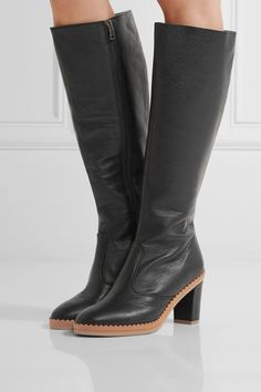 See by Chloé - Scalloped Textured-leather Knee Boots - Black - IT39.5