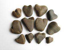Heart shaped river stones