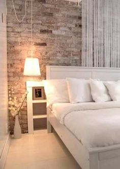 vintage wall in modern bedroom