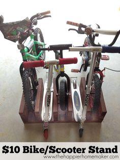 DIY $10 Wood Bike Rack