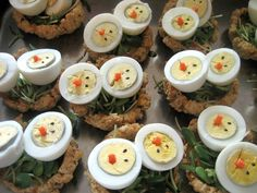 Combining a few ideas for nursery school snack. Chicks rest in their nests of sunflower sprouts and oatmeal-cheese savory cookies.  Will be served with grapes and mint tea.  By @Enid Williams