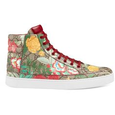Gucci Men'S Gucci Tian High-Top Sneaker ($520) ❤ liked on Polyvore featuring men's fashion, men's shoes, men's sneakers, men, shoes, sneakers, mens floral print shoes, mens hi top shoes, men's low top shoes and mens leopard print shoes