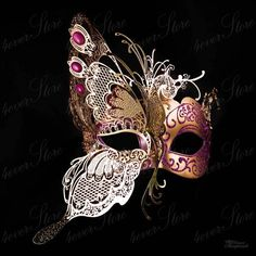 Gold Butterfly Venetian Masquerade Mask w/ Purple by masken Gold Butterfly Venetian Masquerade Mask w/ Purple Glitters & Jewels Venetian Carnival Masks, Venetian Masquerade Masks, Masquerade Party, Magenta, Pink Purple, Butterfly Mask, Butterfly Jewelry, Lace Mask, Laser Cut Metal