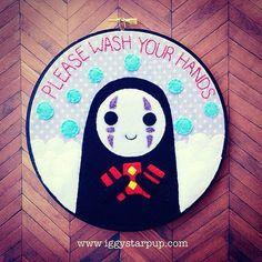 Spirite Away No Face Bathroom Embroidery