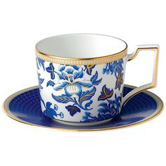 Buy Wedgwood Hibiscus Iconic Tea Cup and Saucer, Blue/White Online at johnlewis.com