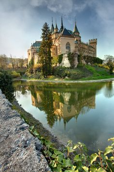 Bojnice city, Slovakia. Bojnice Castle is a medieval castle in Bojnice, Slovakia. It is a Romantic castle with some original Gothic and Renaissance elements built in the 12th century.