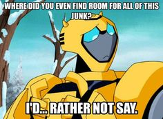 "Transformers Animated Bumblebee. Don't ask where he puts all his ""junk"""