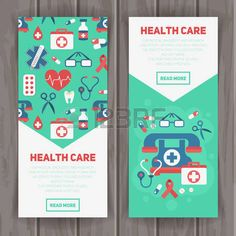 Illustration of Medical banners templates in trendy flat style with main health care elements - emergency kit, heart, pills, cross vector art, clipart and stock vectors. Kids Graphic Design, Japanese Graphic Design, Graphic Design Posters, Pharmacy Design, Medical Design, Healthcare Design, Medical Brochure, Travel Brochure, Promo Flyer