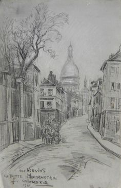Combes Fernand - Charcoal - Paris, la butte Montmartre, rue Norvins - ~56x35cm; dessin daté de 1910.