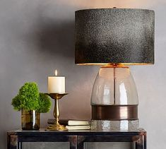Bailey Mouth-Blown Glass & Metal Table Lamp, Antique Brass finish