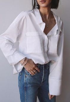 white shirt and blue jeans #outfits #womensfashion #ootd White Shirt And Blue Jeans, White Shirts, Casual Fall, Fashion Pictures, Ootd, Collars, Buttons, Womens Fashion, Outfits